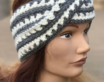 Ear Warmers-Twisted, Crocheted, Grey & White