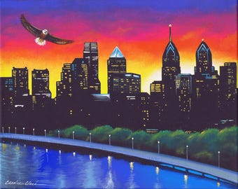 VICTORY, Philadelphia Eagles, 8x10 Original Acrylic Painting on Gallery Canvas, by Carolee Clark of King of Mice Studios