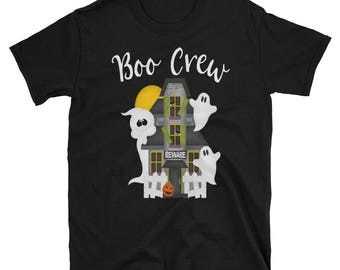 Boo Crew Cute Haunted House Halloween Tee Adult Sizes