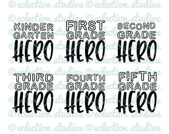 Back To School SVG, First Day of School, Grade School Hero, boys back to school cut file for cricut or silhouette, commercial use