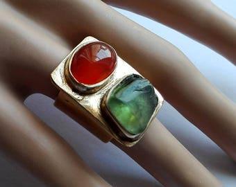 Green Orange Ring, Modern Gemstone Ring, Gold Stones Ring,  Peridot Ring, Multistone Ring, Carnelian Gold Ring, Large Stone Ring