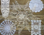 Antique & Vintage Crochet Doily Lot...Mixed, Handmade Lace Doilies, early to mid 1900s...Destash Collection, Crafting, Home Decor DL1706