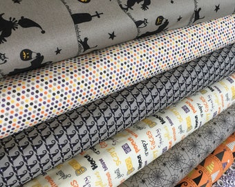 Halloween Fabric Bundle, Fabric by the Yard fabric, Fabric Shoppe bundle, Moda Fabric- Hocus Pocus Fabric Bundle of 7