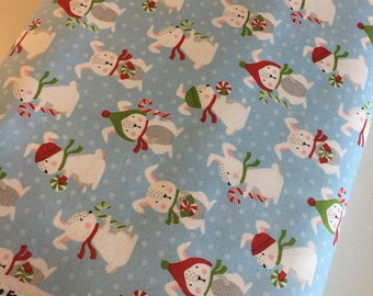 Rabbit fabric, Frosty Friends Christmas Fabric, Cotton fabric by the Yard, Bunnies in Blue- Choose the cut