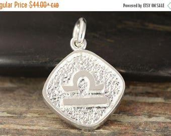 MATERNITY LEAVE SALE Libra zodiac pendant in sterling silver - double sided, Libra necklace, zodiac necklace, zodiac jewelry