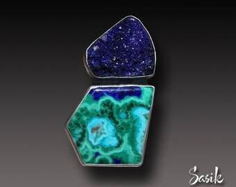 Azurite Druzy ring Sterling Silver and Chrysocolla Malachite Azurite Ring