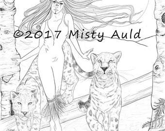 Pakhet w/Amon &Jabari~Egyptian Cat Goddess Faerie~ Fantasy Art~ Digital Download