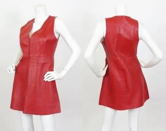 1960's Vintage Carnaby Street Genuine Red Leather Mod Mini Dress Sz S
