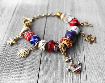 Charm Bracelet, Nautical Charms, Navy, Sailor, Beaded Charm Bracelet, European Charm Bracelet, Gold Charm Bracelet, Nautical Charm Bracelet