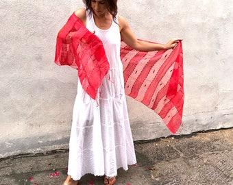 Red silk shawl