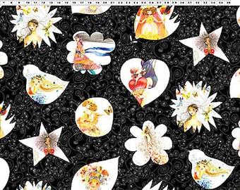 Clothworksl #067 BLOOM Black Y1395-3 Fabric - Cuts by HALF Yard Increments
