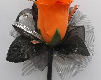 Orange Silk Rose Boutonnière