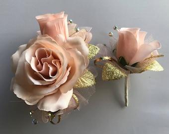 Soft Peach Artifical Rose Corsage & Boutonnière  Set