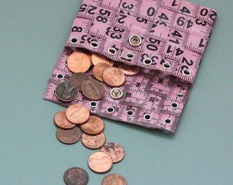 Tape Measure Coin Pouch in Light Pink - Coin Purse or Wallet created with Upcycled Measuring Tape