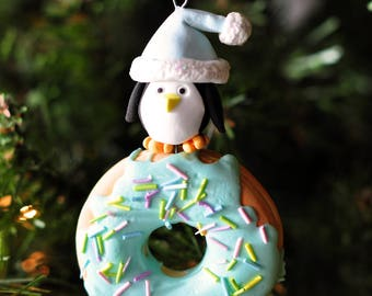 Handcrafted Clay Christmas Ornament - Santa Penguin Atop Glazed Donut with Sprinkles
