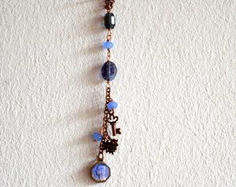 Vintage Saint Mary Catholic Wall Hanger Pendant Copper Beaded Art Work / Dream Catcher / Beaded Amulet / Catholic Amulet / Bohemian Wall Art