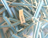 20 VINTAGE beads, blue in clear plastic beads long tube 30mmx4mm