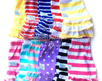 Size 6/7 Shorts Boutique double ruffle stripe knit shorts girls toddlers babies custom Momi boutique red blue pink black yellow
