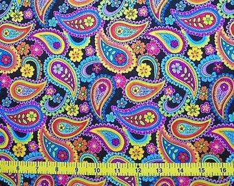 CUSTOM Reusable Cloth Menstrual Pad - You Pick Backing - Bright Paisley Floral on Black