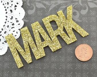 MARK NAME CABOCHON - in Gold Glitter Laser Cut Acrylic