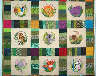 Wild Animals quilted wall hanging or lap quilt