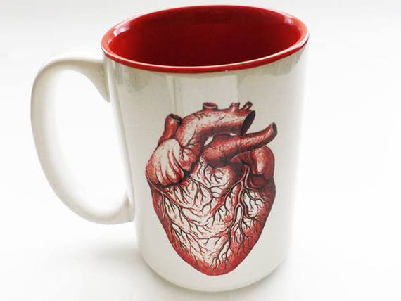 Coffee Mug 15 oz Anatomy Heart physician assistant male registered nurse halloween doctor cup gift goth kitchen decor boss coworker staff