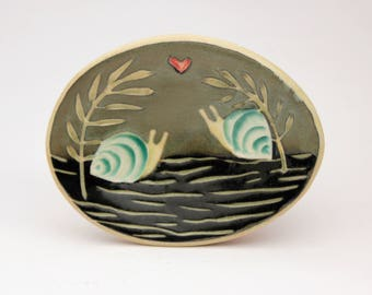 Snail Sweethearts- little oval dish- Ruchika Madan