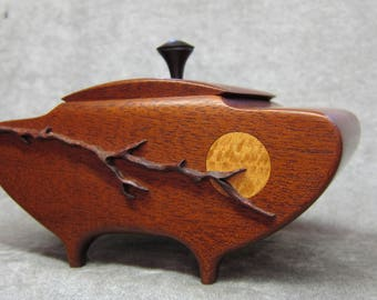 Mahogany Box Lidded Vessel with carved branch
