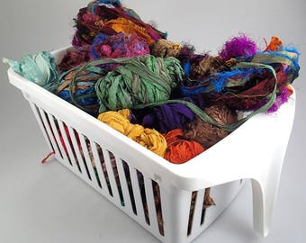 sari ribbon remnants, Cuttings sari ribbon, scrap sari ribbon 1 lb plus, weaving supply, rug making supply