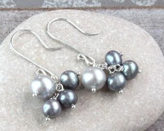 Cluster Pearl Earrings Sterling Silver Gray Freshwater Pearls June Birthstone Earrings Pearl Accessories