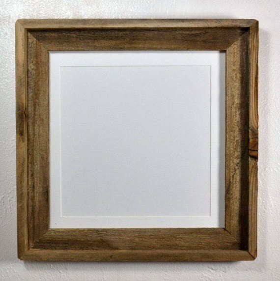 10x10 white mat in 12x12 rustic style reclaimed wood picture frame with glass 20 mat colors. Black Bedroom Furniture Sets. Home Design Ideas