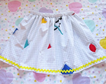 80s geometric skirt, abstract retro kawaii fairy kei grid saved by the bell vaporwave aesthetic size small S