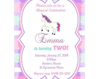 "20 Personalized PRINTED Birthday Invitations   - Unicorn Party -Unicorn Invitations - 5x7"" Size"