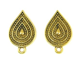 Large Antique Gold Teardrop Earring Post Finding, Earring Top Post with Loop Jewelry Component