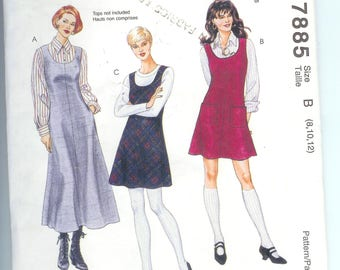 McCalls Misses JUMPER In Two Lengths  Petiteable Sewing Pattern 7885  Size B  8-10-12 2 Hour Pattern
