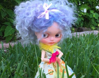 Blythe Doll Customized re-rooted mohair LocksCustom Made Art Doll One of a Kind