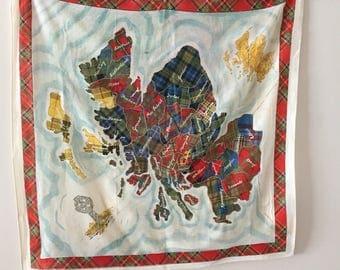 Scottish Tartans novelty scarf vintage 1980s  26 x 26