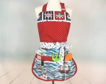 Pirates Ahoy Nautical Sassy Teacher Apron with Bib, 6-8 Pockets, great for Vendors, Gardening, Craft Shows, Farmers Market