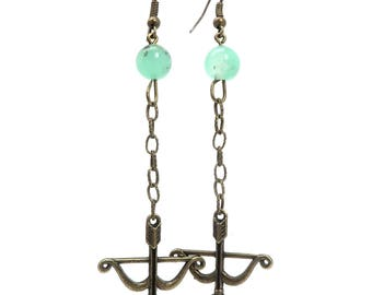 Chrysoprase Earrings 08 - Archery Bow Arrow Long
