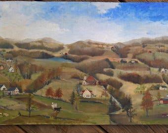 Oil painting folk art on board 12 x 20