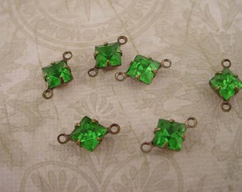 6 Vintage 6mm green peridot glass Square Rhinestone charms brass ox setting 2 ring connectors