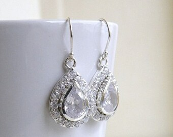 Summer Sale Bridal Earrings Cubic Zirconia Sterling Silver Dangle BE8 Wedding Jewelry