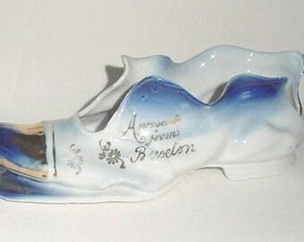 Antique Flow Blue Shoe - Beautiful Large Shoe - Unusual Wonderful Porcelain Shoe