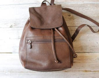 Chocolate Brown Leather Back Pack, Hands Free, Vintage leather backpack, Ruck sack, 1980s Bass