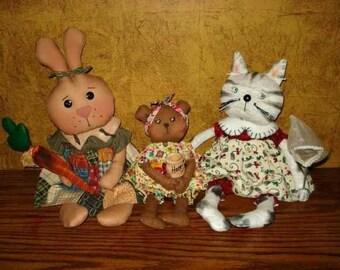 "PRIMITIVE PATTERN, Cat Doll Pattern, Bunny Pattern, Bear Pattern, All 3 called ""Three's Company"" 10"" Bear, 12"" Kitty, 14"" Bunny w/Carrot"