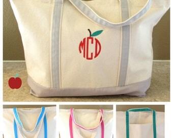 "Teacher Gifts Personalized Teacher Gifts Personal Gifts Apple  Monogram Tote Bag Monogram Tote Bag for Teacher  Gift  Wedding Gift  22"" D"