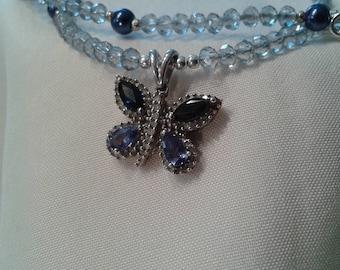 Diamond & Sapphire Butterfly Pendant Necklace set