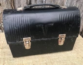 Vintage Black Metal Thermos Brand Lunch Box