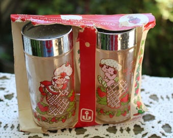 Set of Vintage Strawberry Shortcake Salt and Pepper Shakers in Original Packaging