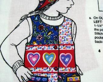 Girls Vest Hat Fabric Panel Simplicity Hearts Flowers S M L